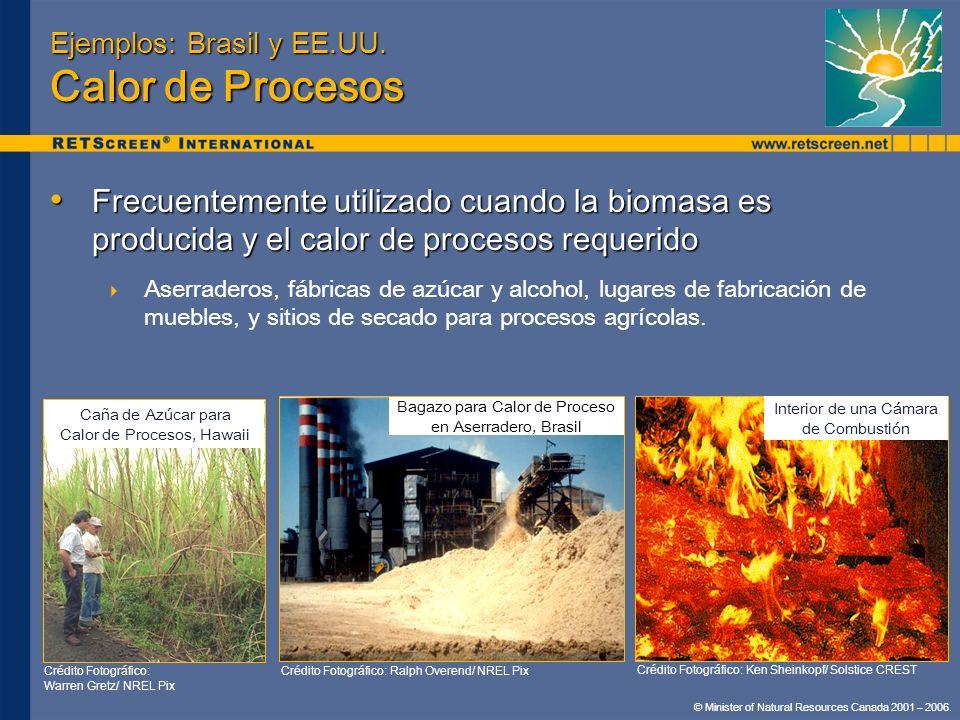 Ejemplos: Brasil y EE.UU. Calor de Procesos