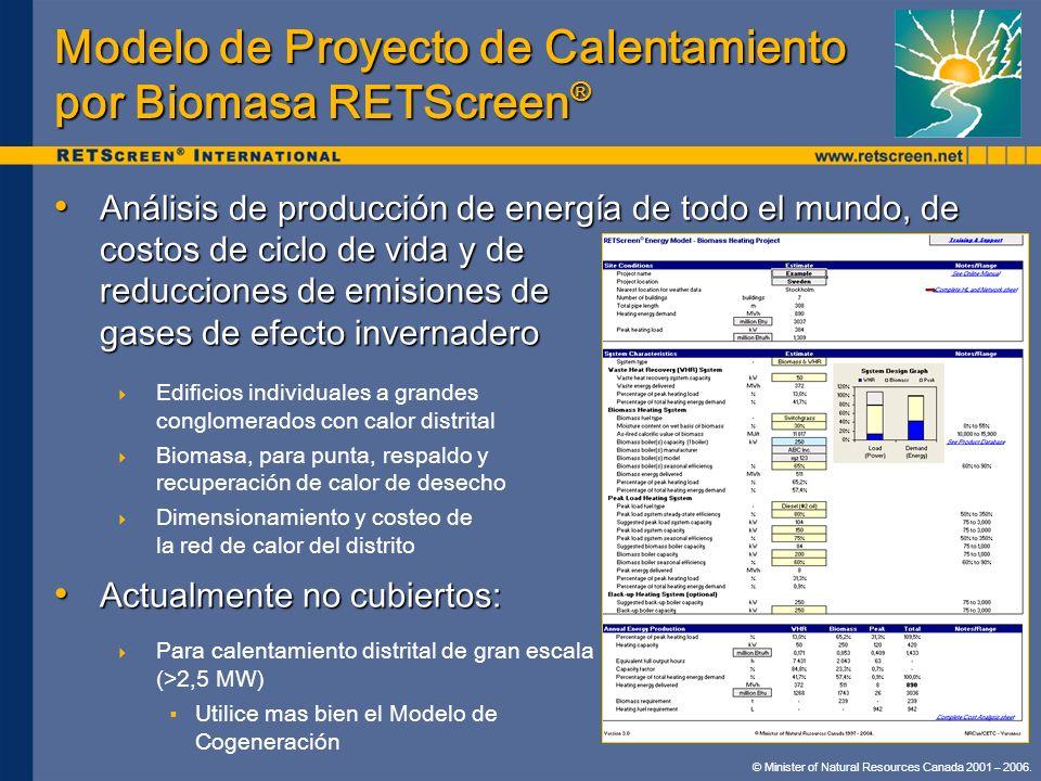 Modelo de Proyecto de Calentamiento por Biomasa RETScreen®