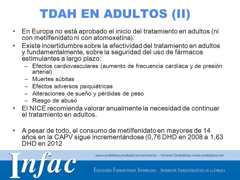 TDAH EN ADULTOS (II) En Europa no está aprobado el inicio del tratamiento en adultos (ni con metilfenidato ni con atomoxetina).