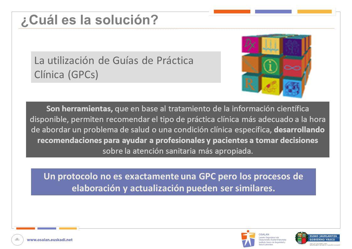 ¿Cuál es la solución La utilización de Guías de Práctica Clínica (GPCs)