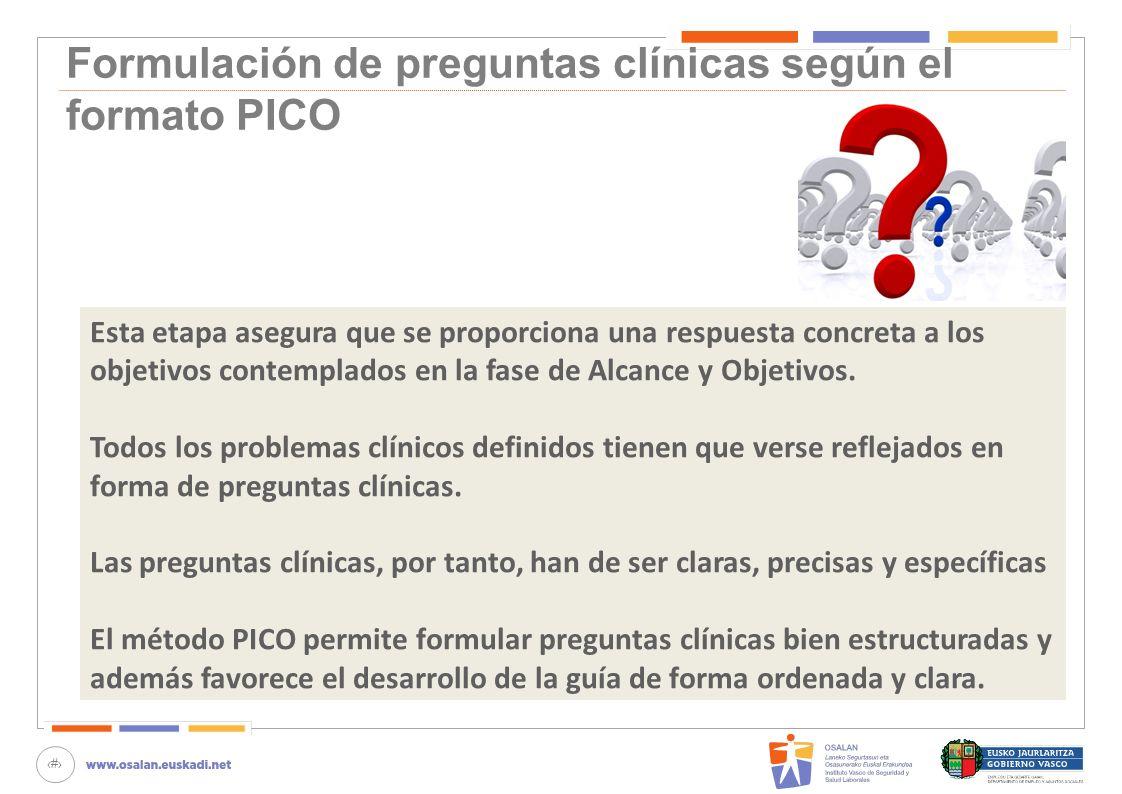 Formulación de preguntas clínicas según el formato PICO