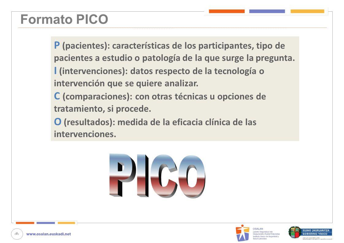 Formato PICOP (pacientes): características de los participantes, tipo de. pacientes a estudio o patología de la que surge la pregunta.