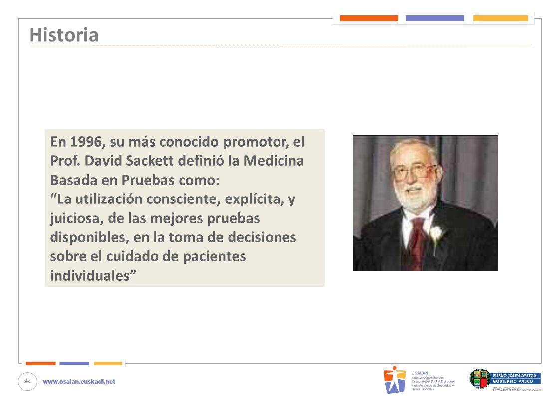 Historia En 1996, su más conocido promotor, el Prof. David Sackett definió la Medicina Basada en Pruebas como: