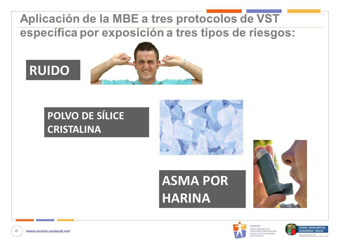 Aplicación de la MBE a tres protocolos de VST específica por exposición a tres tipos de riesgos: