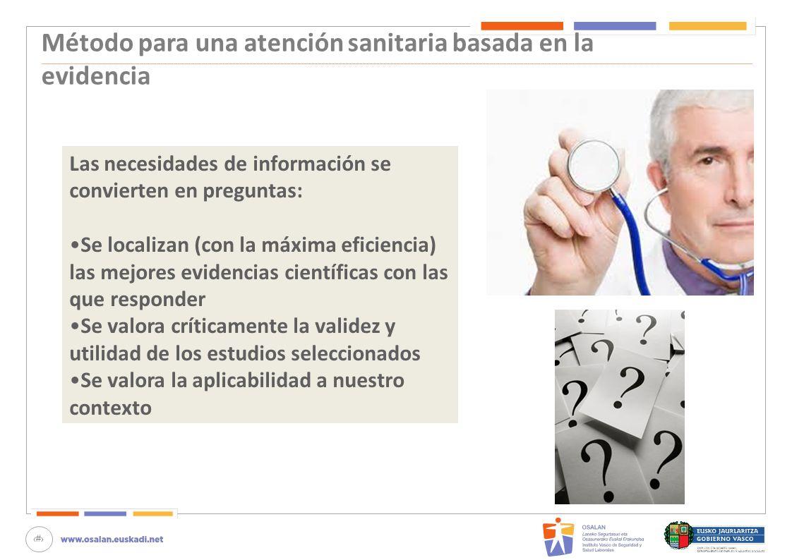 Método para una atención sanitaria basada en la evidencia