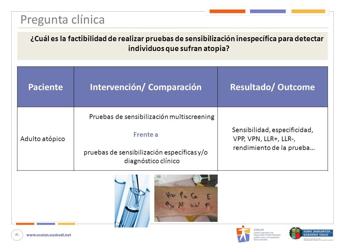 Intervención/ Comparación