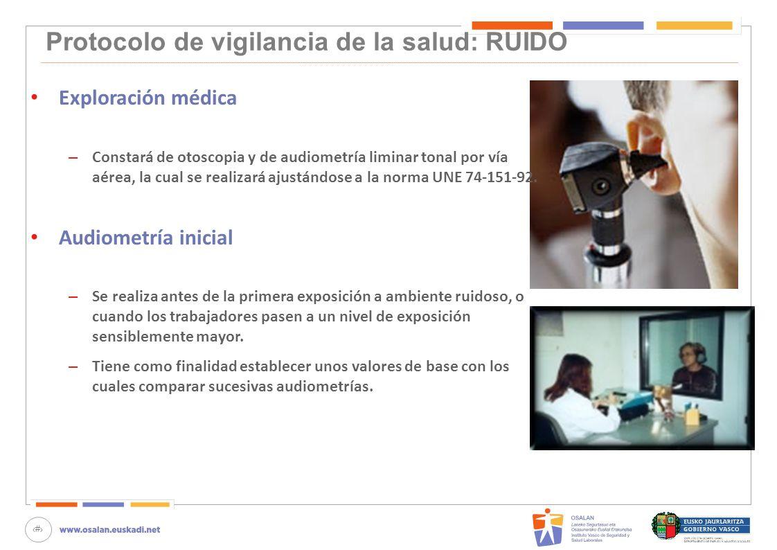 Protocolo de vigilancia de la salud: RUIDO