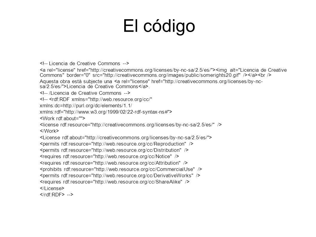 El código <!-- Licencia de Creative Commons -->