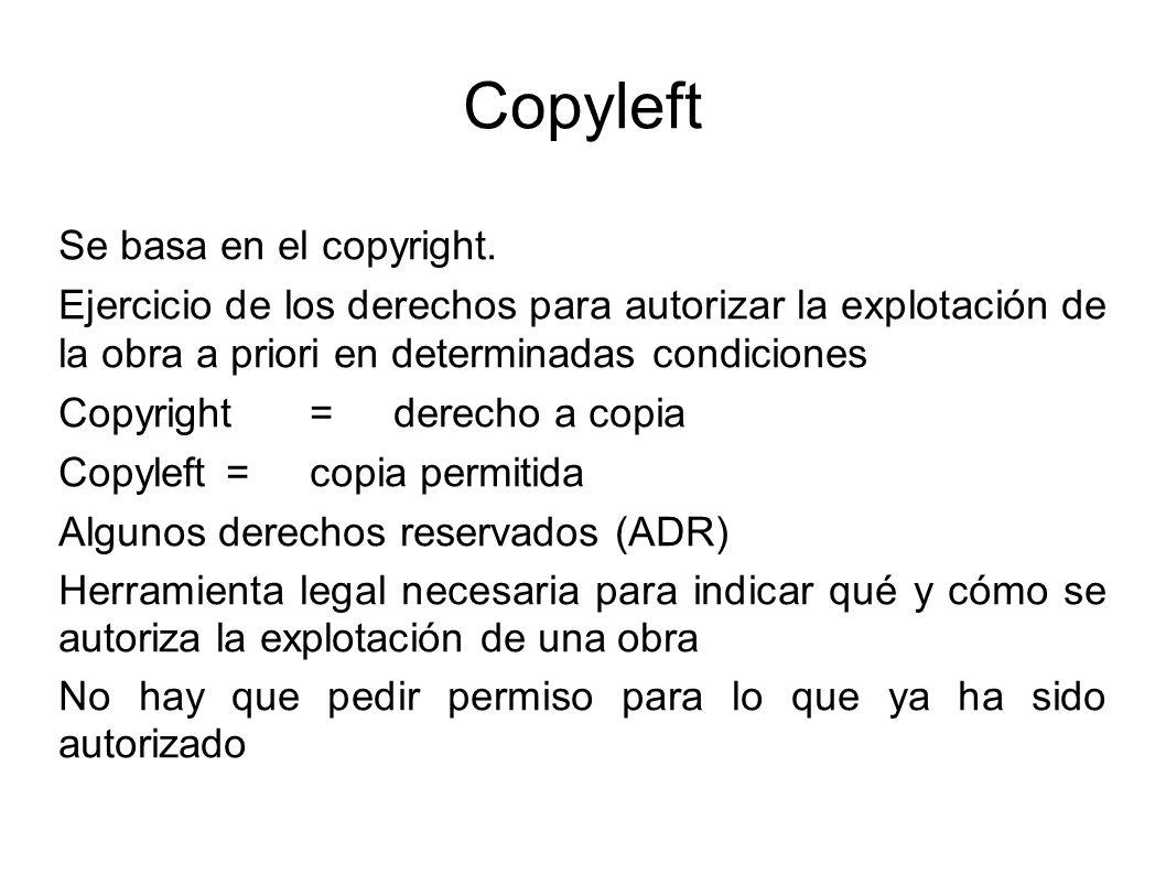 Copyleft Se basa en el copyright.
