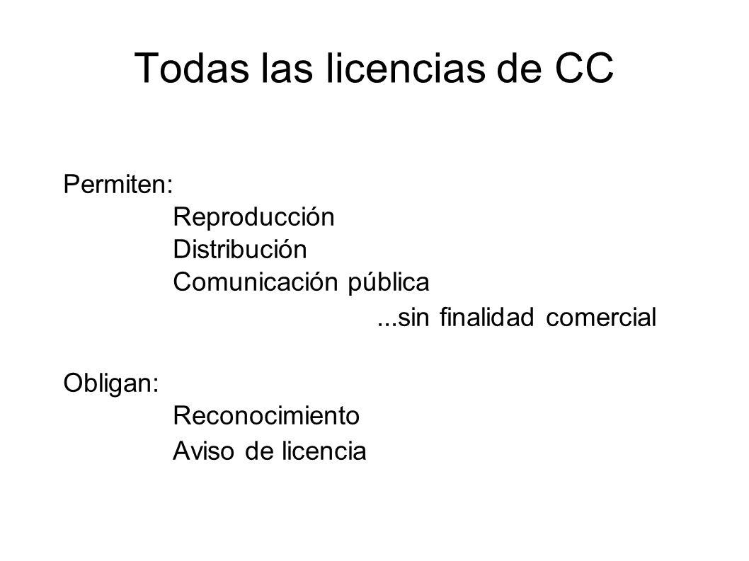 Todas las licencias de CC