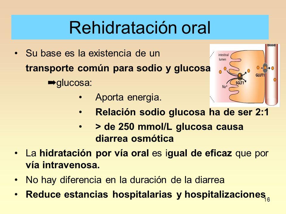Rehidratación oral Su base es la existencia de un