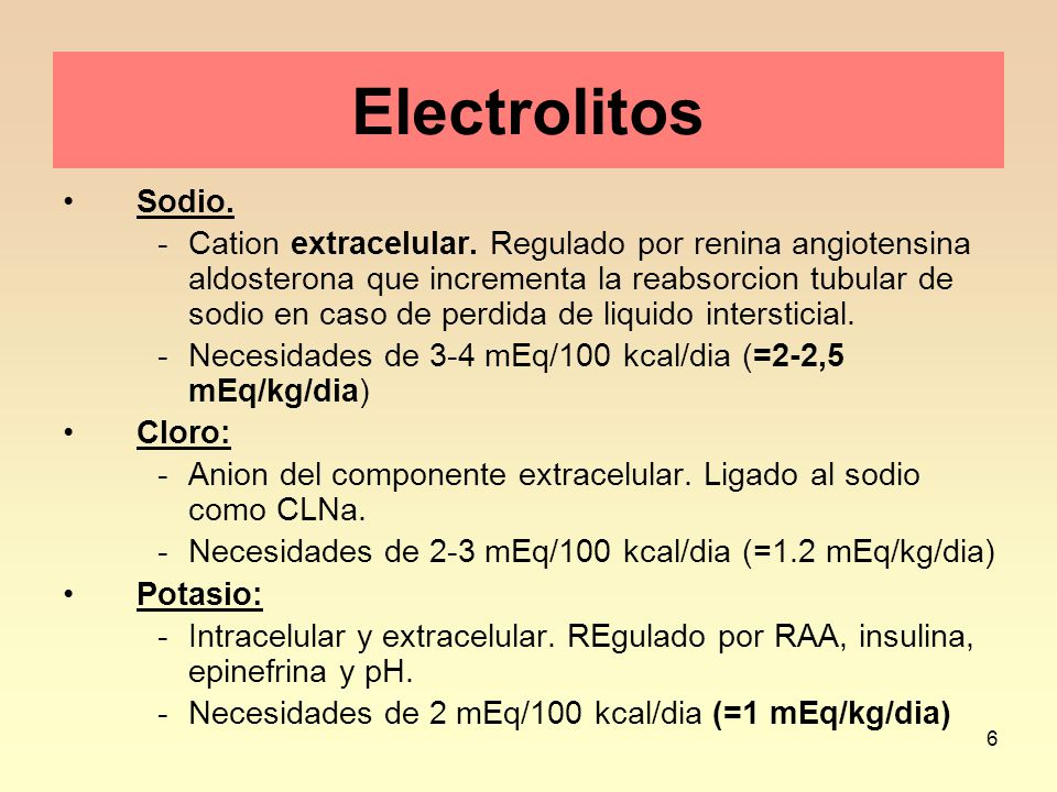 Electrolitos Sodio.