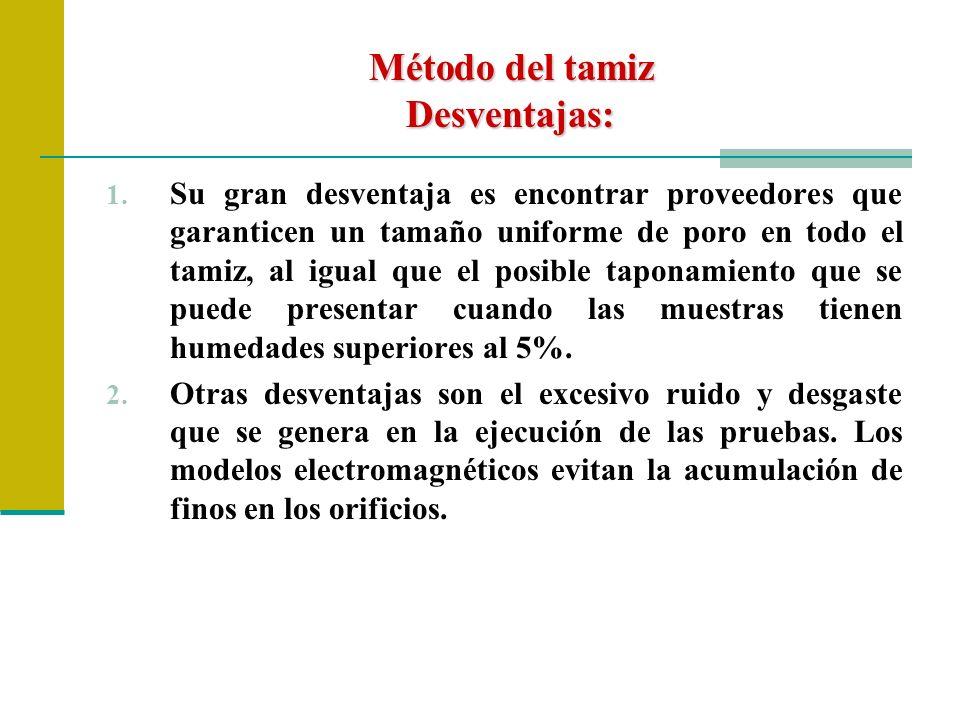 Método del tamiz Desventajas: