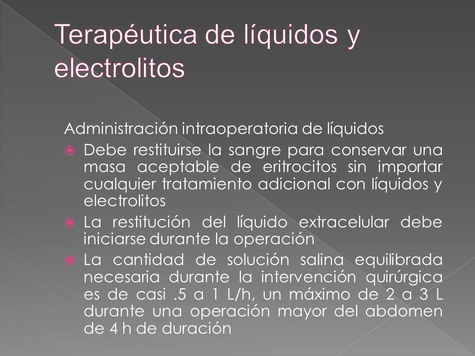 Terapéutica de líquidos y electrolitos