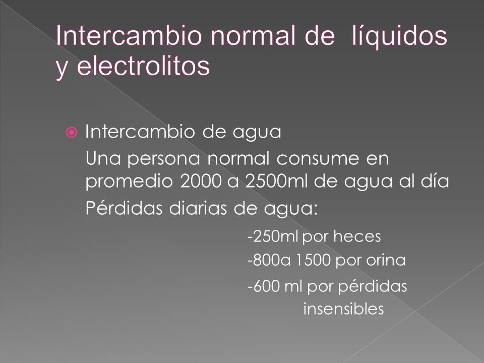 Intercambio normal de líquidos y electrolitos