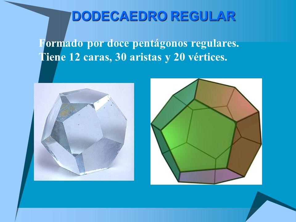 DODECAEDRO REGULAR Formado por doce pentágonos regulares. Tiene 12 caras, 30 aristas y 20 vértices.