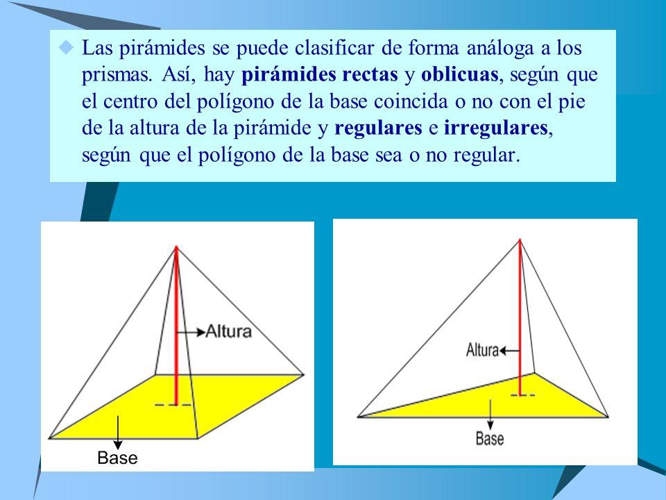 Las pirámides se puede clasificar de forma análoga a los prismas