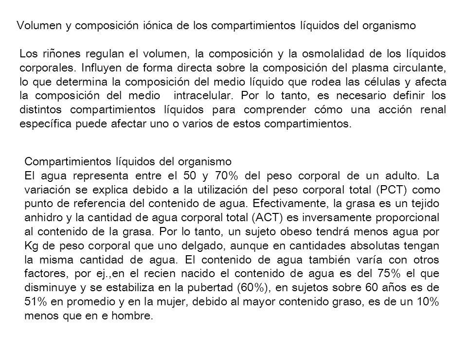 Volumen y composición iónica de los compartimientos líquidos del organismo