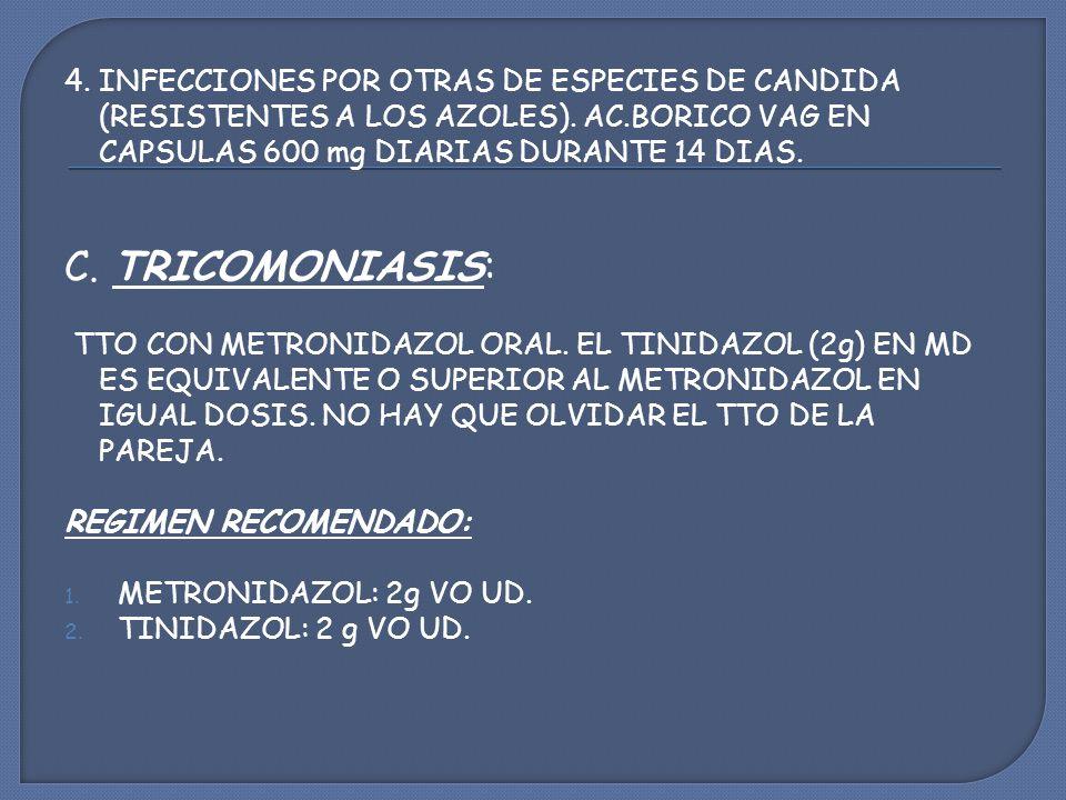 4. INFECCIONES POR OTRAS DE ESPECIES DE CANDIDA (RESISTENTES A LOS AZOLES). AC.BORICO VAG EN CAPSULAS 600 mg DIARIAS DURANTE 14 DIAS.