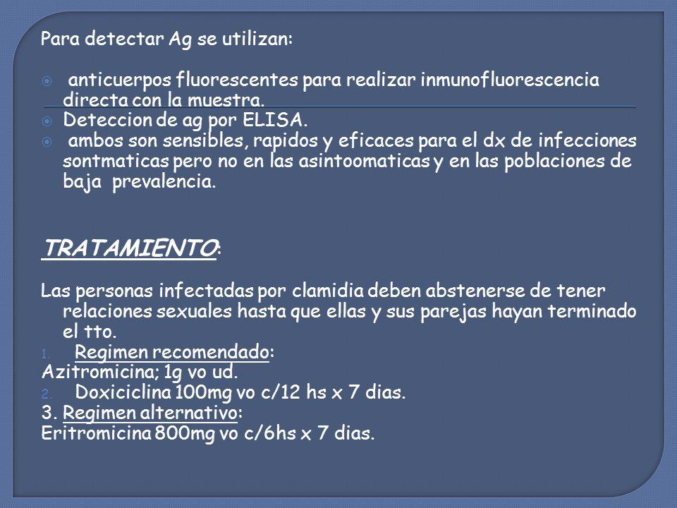 TRATAMIENTO: Para detectar Ag se utilizan: