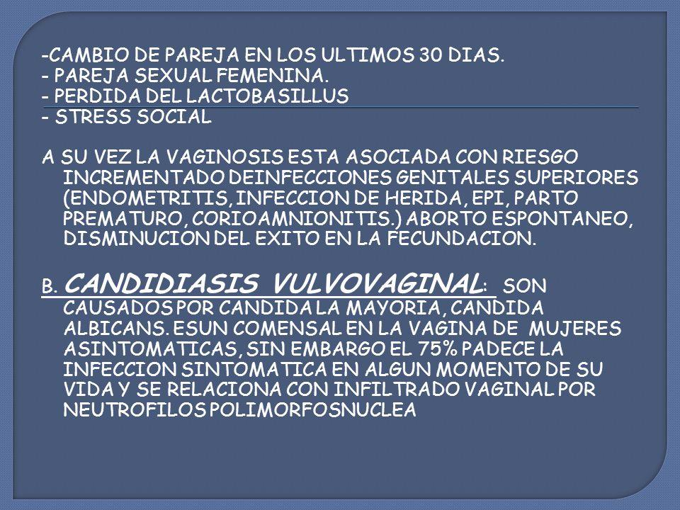 -CAMBIO DE PAREJA EN LOS ULTIMOS 30 DIAS. - PAREJA SEXUAL FEMENINA