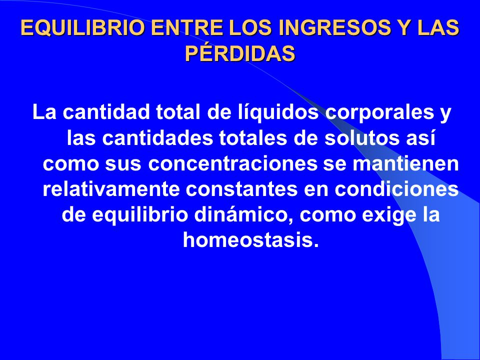 EQUILIBRIO ENTRE LOS INGRESOS Y LAS PÉRDIDAS