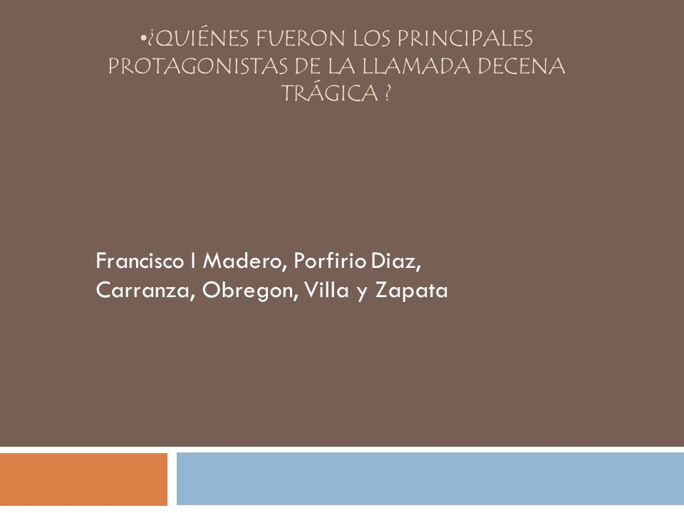Francisco I Madero, Porfirio Diaz, Carranza, Obregon, Villa y Zapata