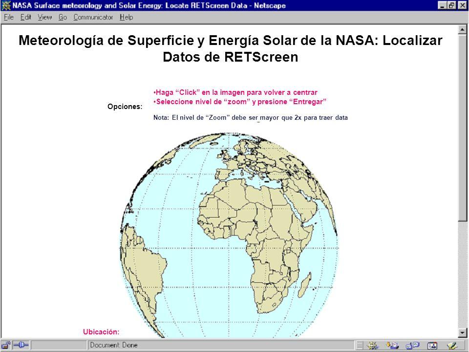Meteorología de Superficie y Energía Solar de la NASA: Localizar