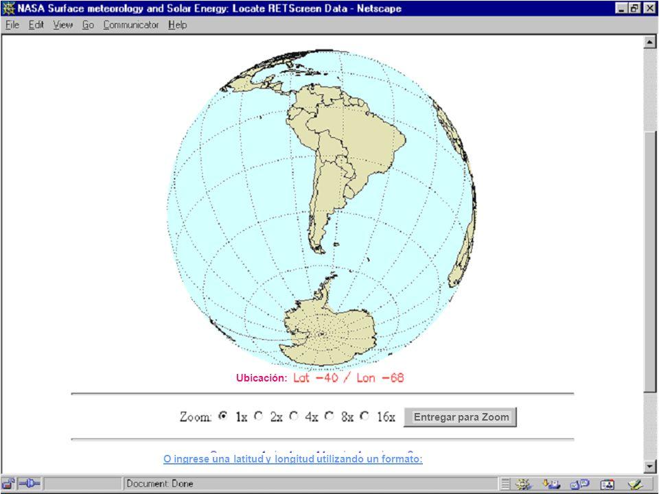 Ubicación: Entregar para Zoom O ingrese una latitud y longitud utilizando un formato: