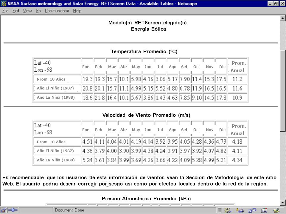 Modelo(s) RETScreen elegido(s): Energía Eólica