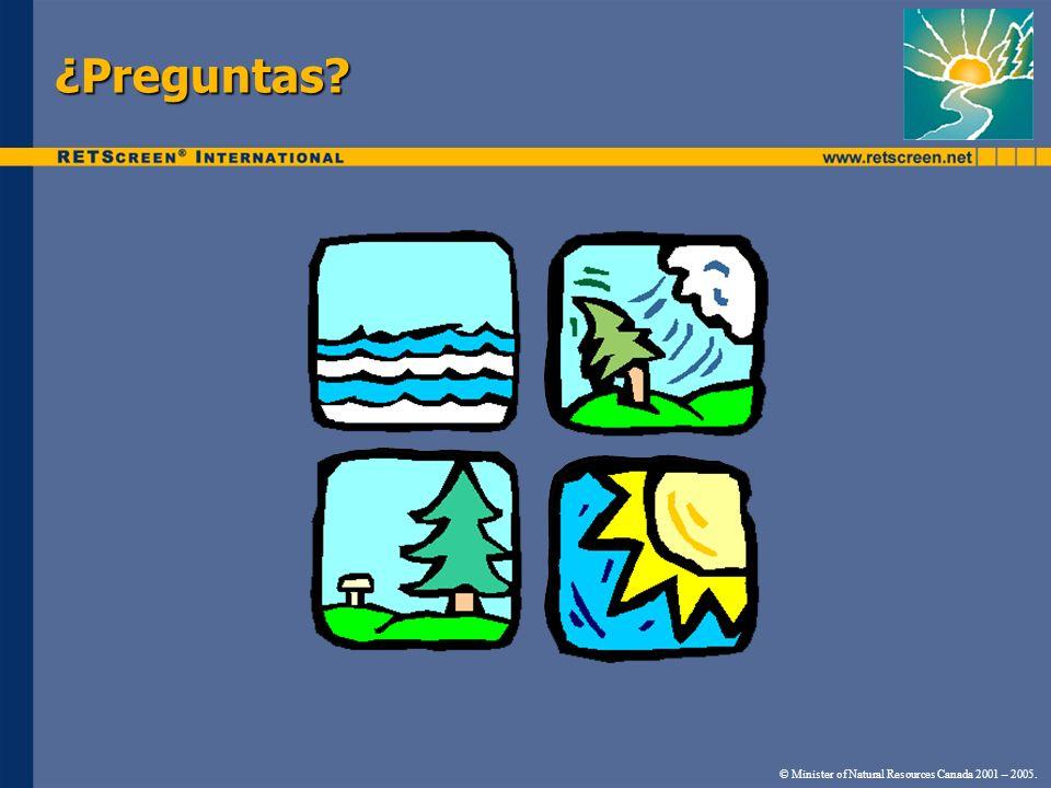 ¿Preguntas © Minister of Natural Resources Canada 2001 – 2005.