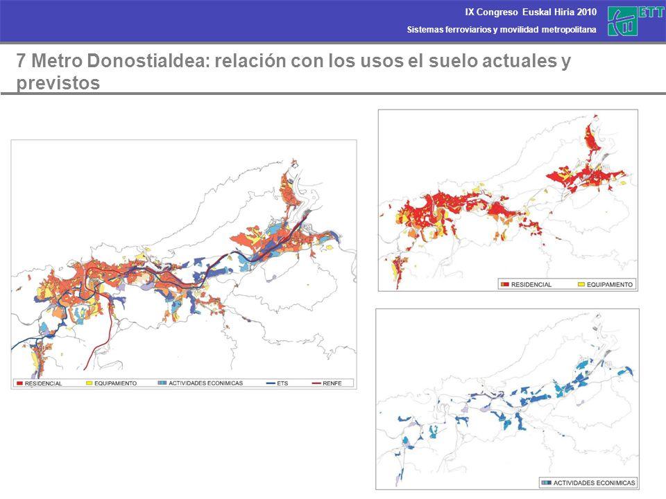 7 Metro Donostialdea: relación con los usos el suelo actuales y previstos
