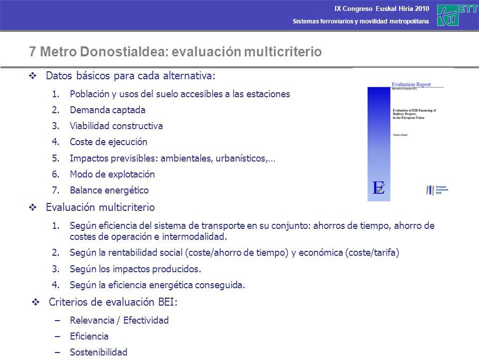 7 Metro Donostialdea: evaluación multicriterio