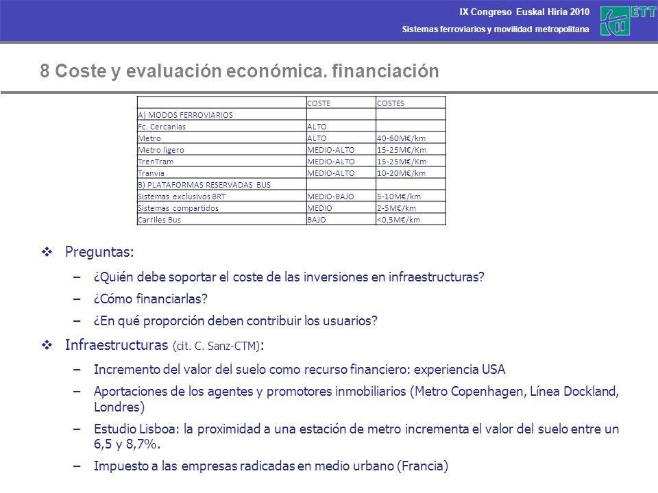 8 Coste y evaluación económica. financiación