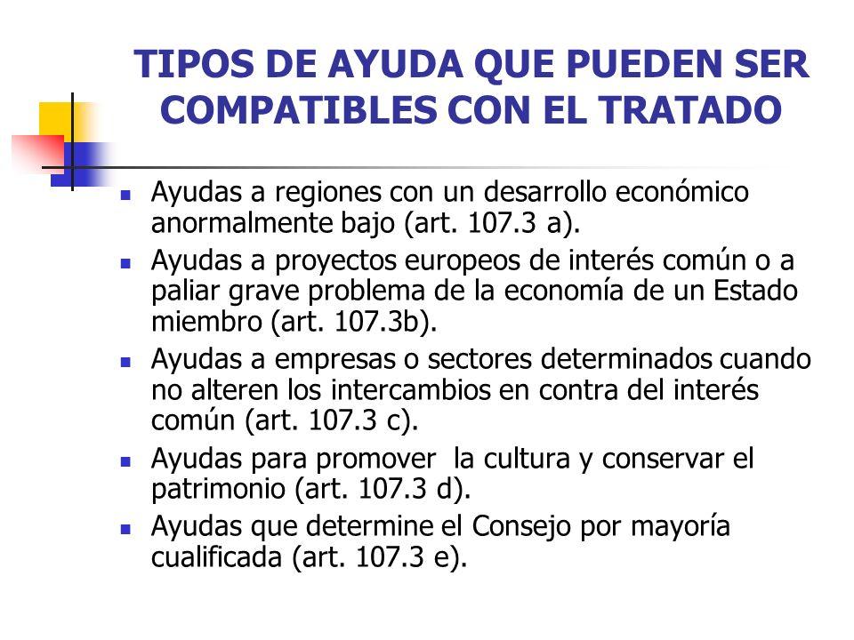 TIPOS DE AYUDA QUE PUEDEN SER COMPATIBLES CON EL TRATADO