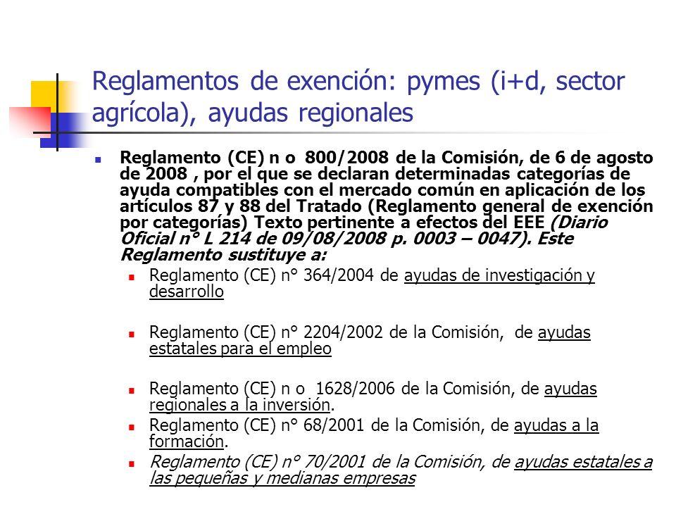 Reglamentos de exención: pymes (i+d, sector agrícola), ayudas regionales