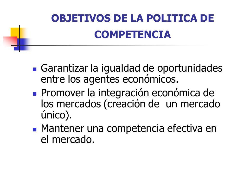 OBJETIVOS DE LA POLITICA DE COMPETENCIA