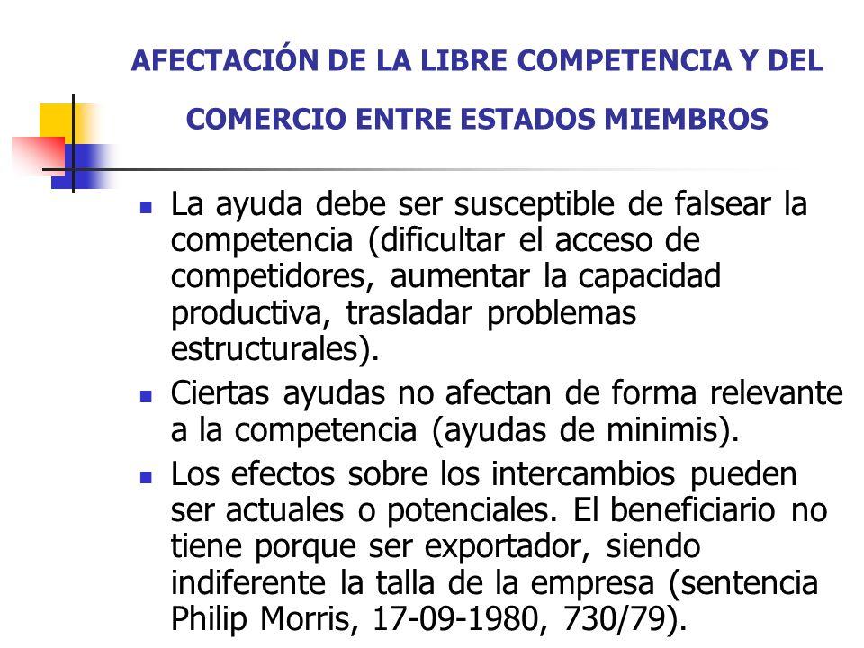 AFECTACIÓN DE LA LIBRE COMPETENCIA Y DEL COMERCIO ENTRE ESTADOS MIEMBROS