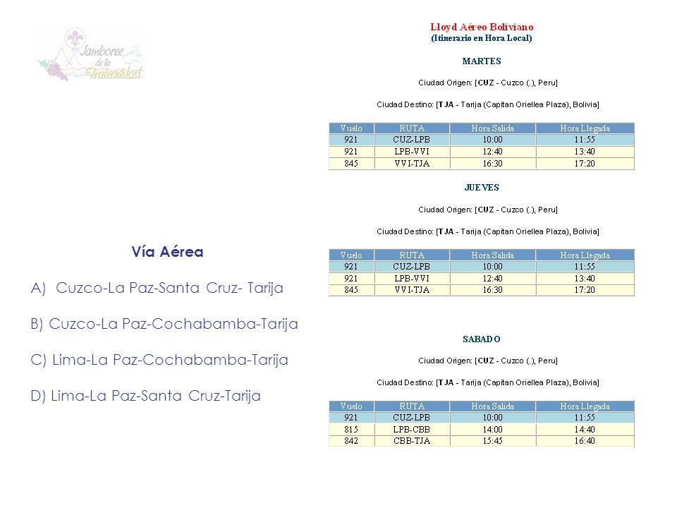 Vía Aérea Cuzco-La Paz-Santa Cruz- Tarija. B) Cuzco-La Paz-Cochabamba-Tarija. C) Lima-La Paz-Cochabamba-Tarija.