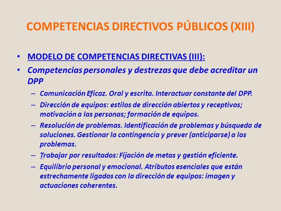 COMPETENCIAS DIRECTIVOS PÚBLICOS (XIII)