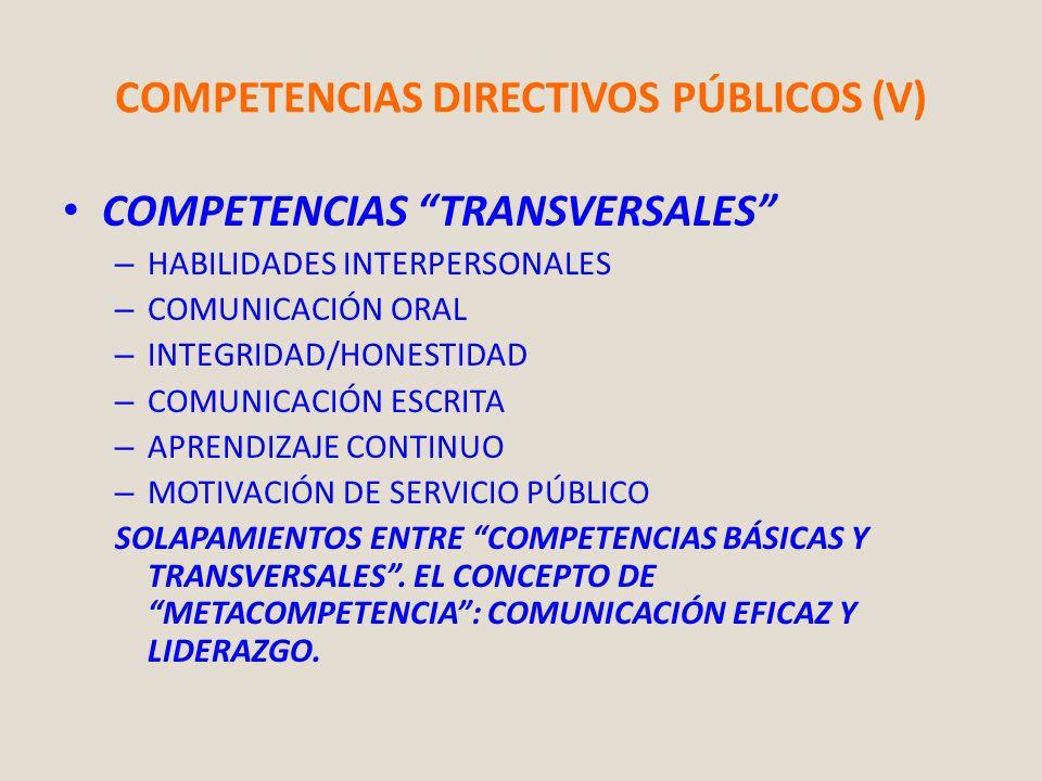 COMPETENCIAS DIRECTIVOS PÚBLICOS (V)