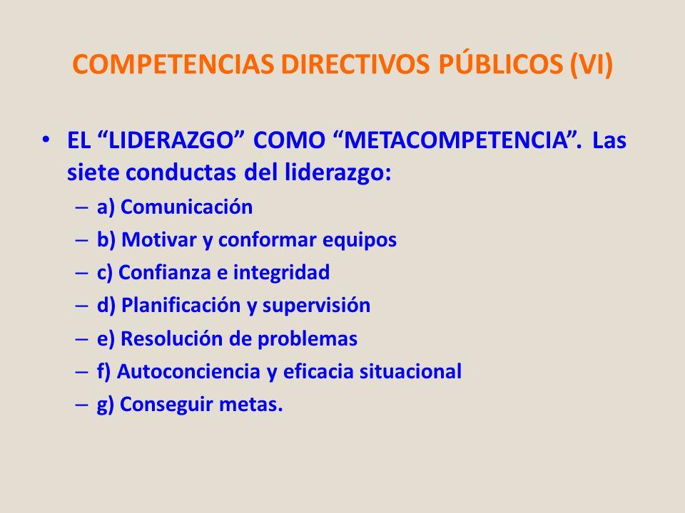 COMPETENCIAS DIRECTIVOS PÚBLICOS (VI)