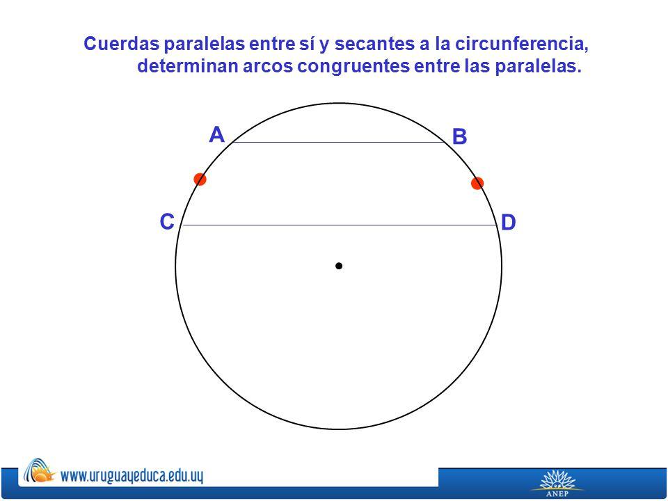 Cuerdas paralelas entre sí y secantes a la circunferencia, determinan arcos congruentes entre las paralelas.