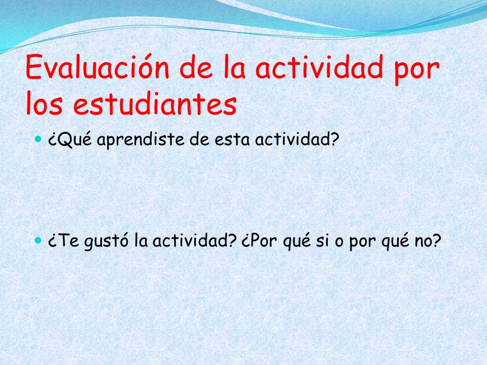Evaluación de la actividad por los estudiantes