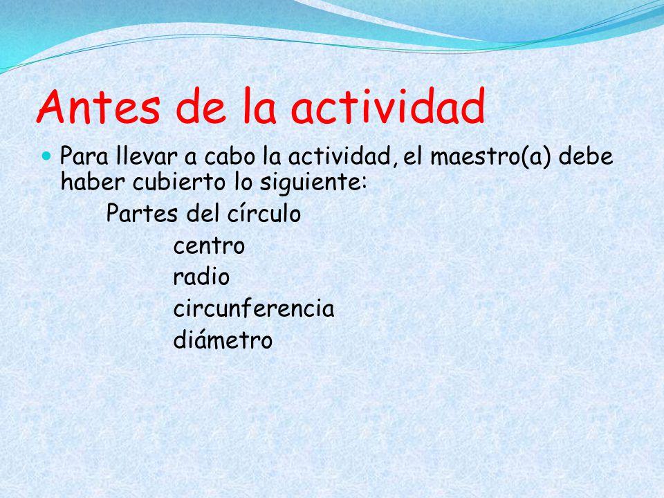 Antes de la actividad Para llevar a cabo la actividad, el maestro(a) debe haber cubierto lo siguiente: