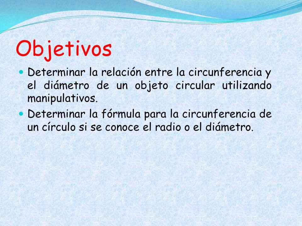 Objetivos Determinar la relación entre la circunferencia y el diámetro de un objeto circular utilizando manipulativos.