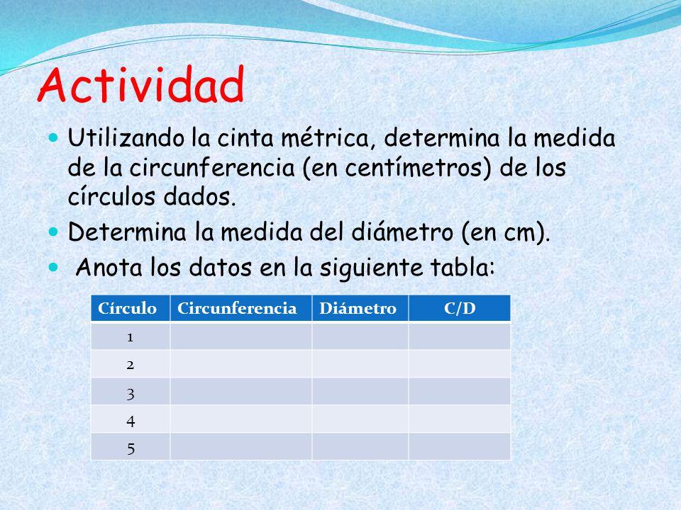 Actividad Utilizando la cinta métrica, determina la medida de la circunferencia (en centímetros) de los círculos dados.