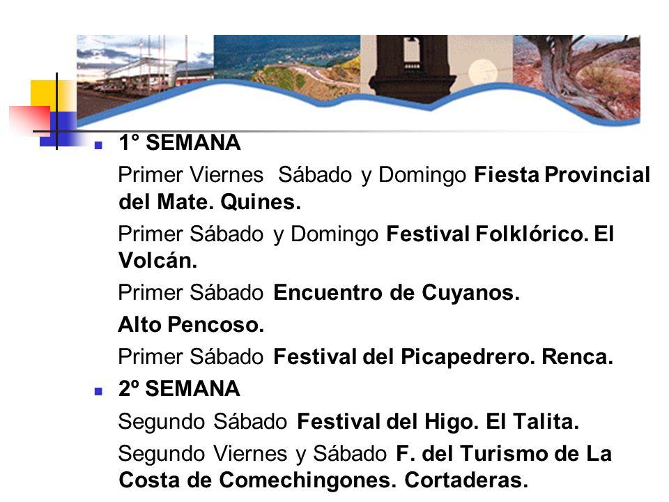 1° SEMANA Primer Viernes Sábado y Domingo Fiesta Provincial del Mate. Quines. Primer Sábado y Domingo Festival Folklórico. El Volcán.