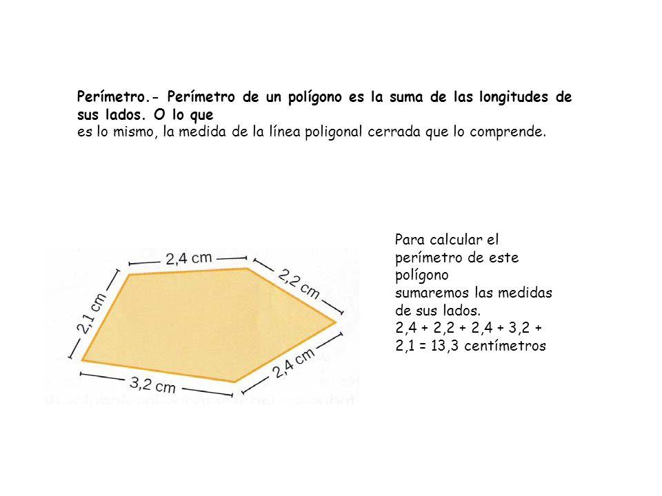 Perímetro.- Perímetro de un polígono es la suma de las longitudes de sus lados. O lo que