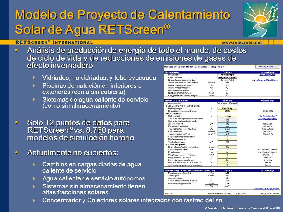 Modelo de Proyecto de Calentamiento Solar de Agua RETScreen®